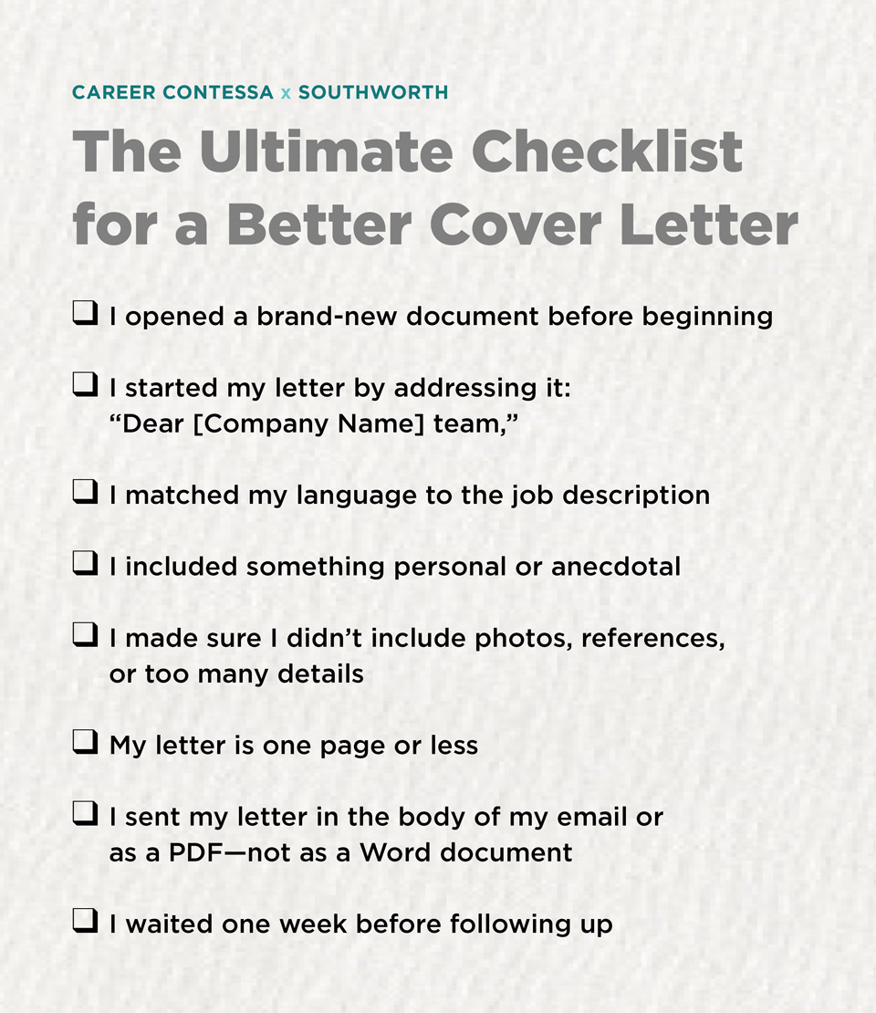 The ultimate checklist for a better cover letter career contessa 4 make it personal madrichimfo Gallery